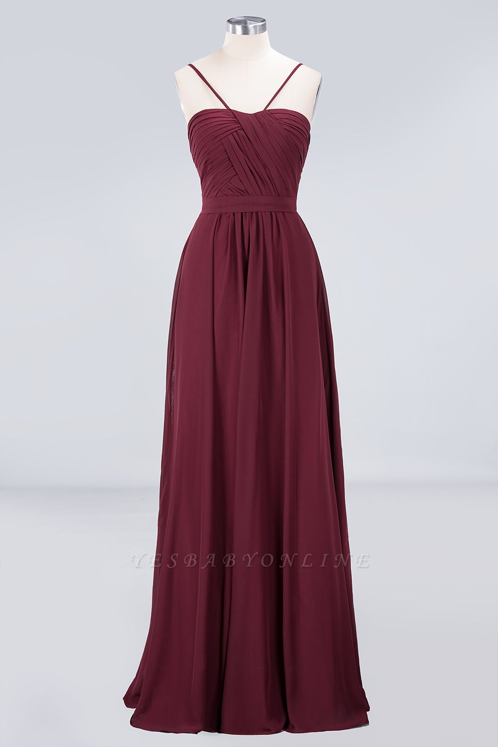 A-Line Sweetheart Spaghetti-Straps Backless Floor-Length  Bridesmaid Dress with Ruffles