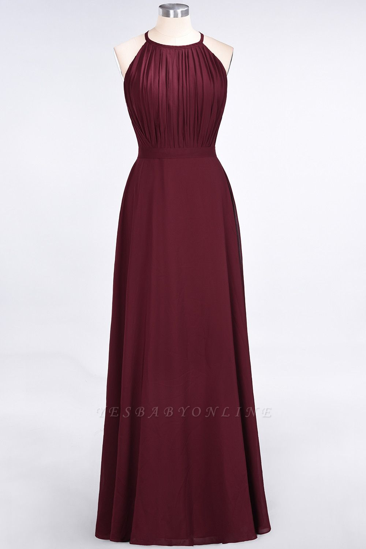 A-Line Jewel Sleeveless Floor-Length  Bridesmaid Dress with Ruffles