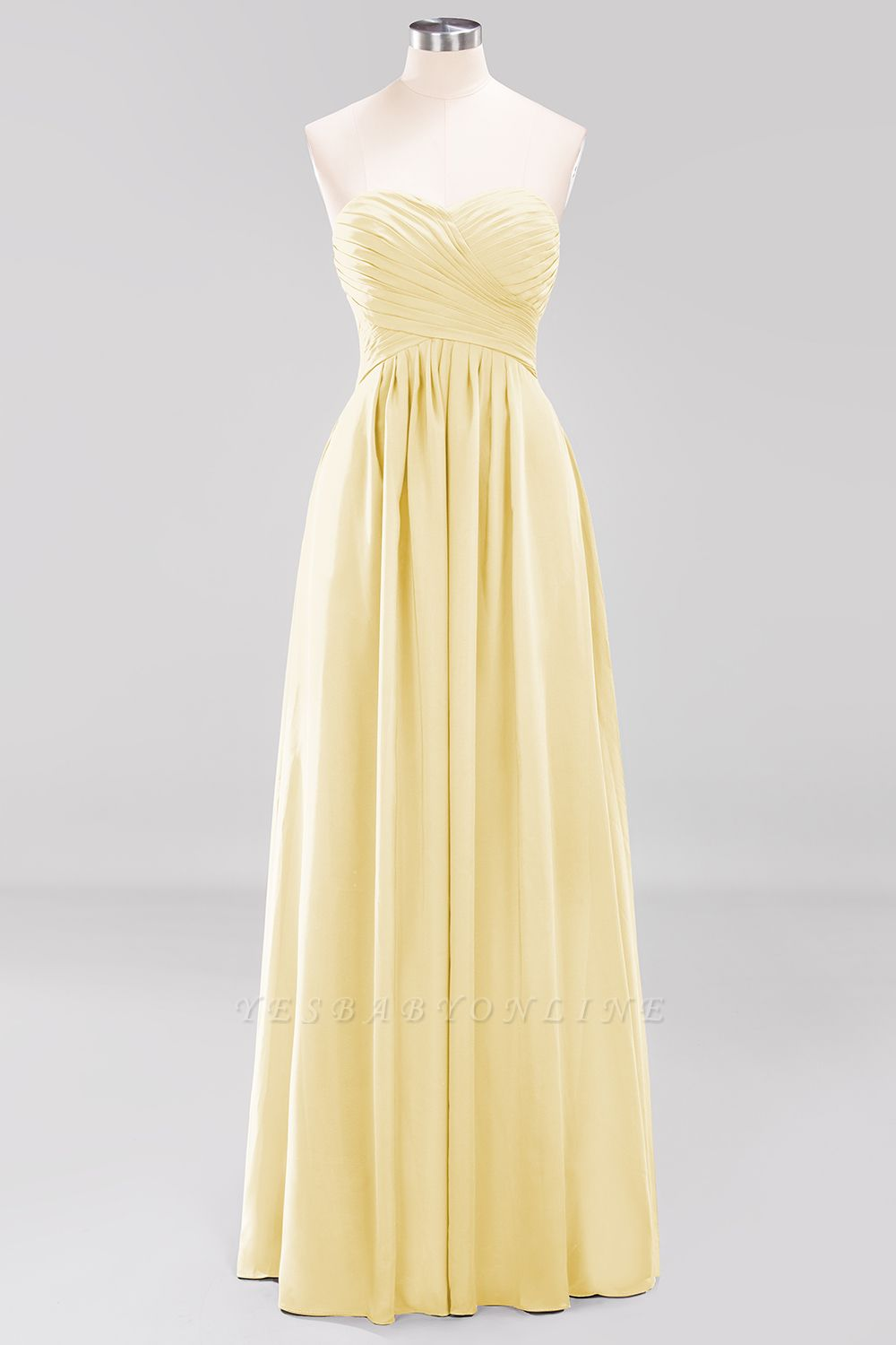 A-line  Sweetheart Strapless Ruffles Floor-length Bridesmaid Dress