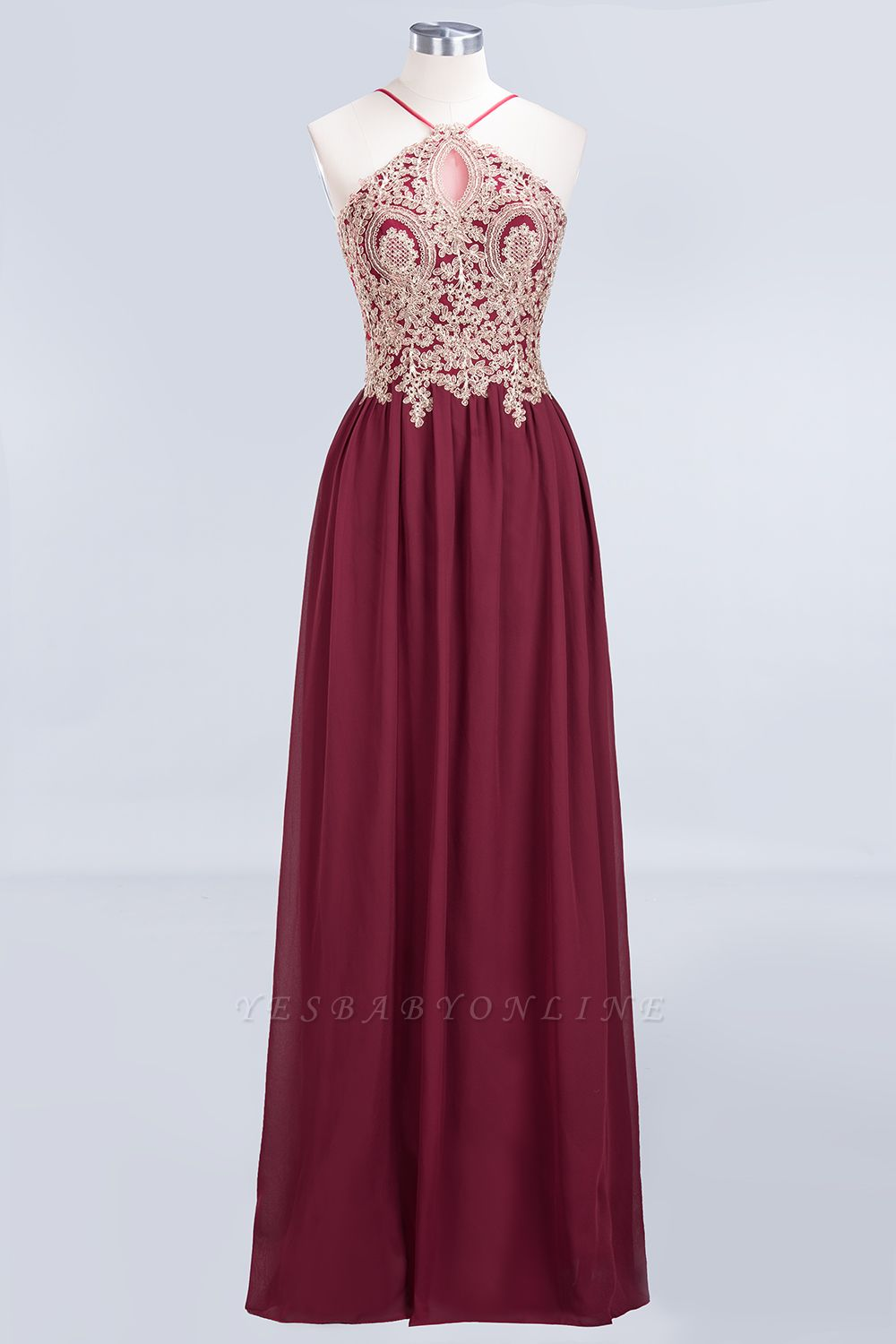 A-Line Spaghetti-Straps Sleeveless Backless Floor-Length  Bridesmaid Dress with Appliques