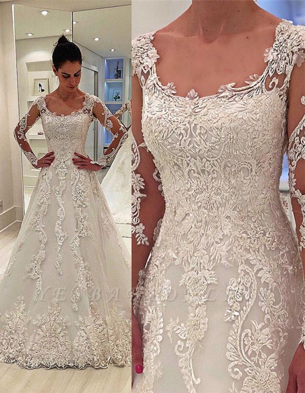 Glamorous Long Sleeves Appliques Square Neck A-Line Wedding Dress