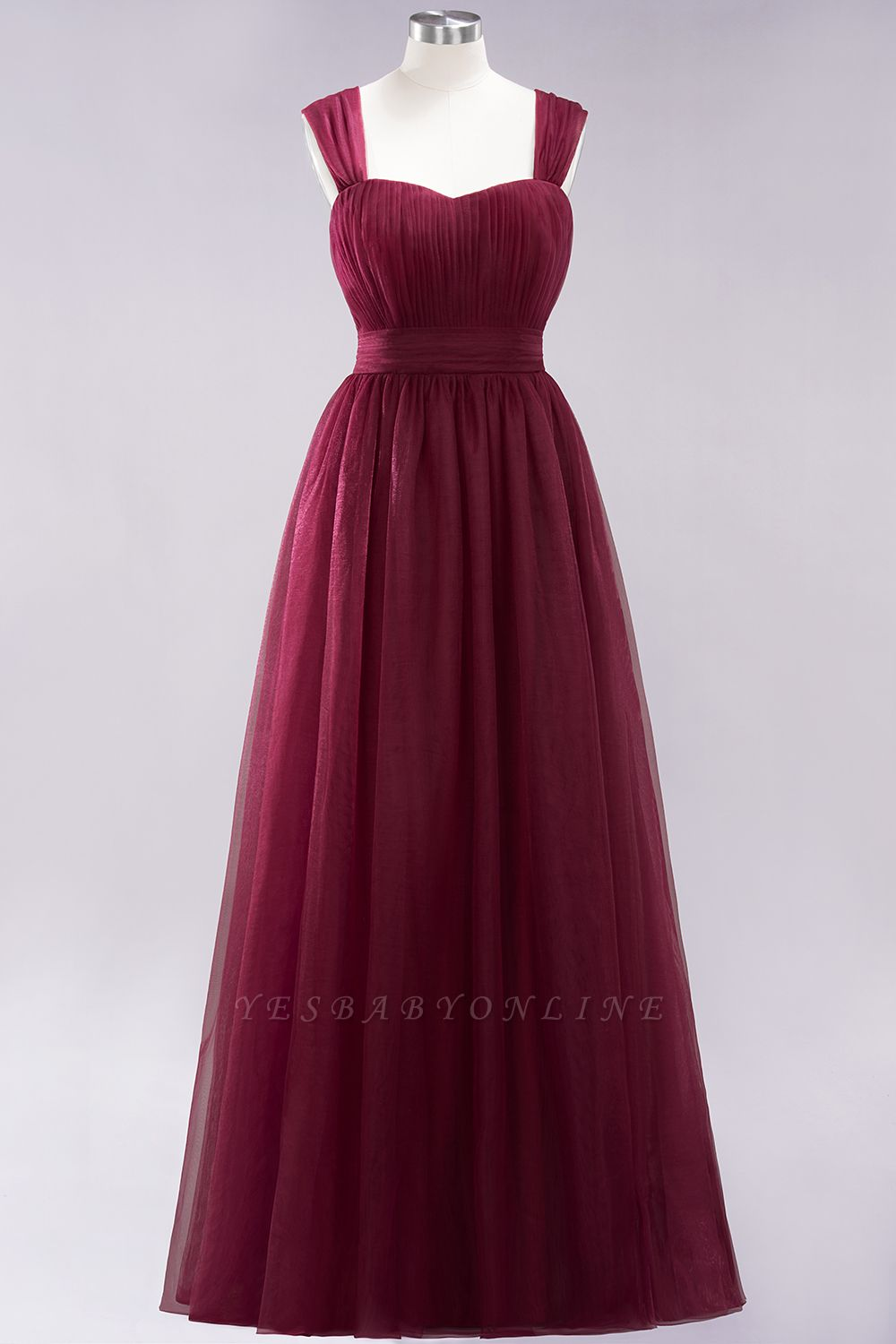 A-Line  Sweetheart Straps Sleeves Floor-Length Bridesmaid Dresses with Ruffles
