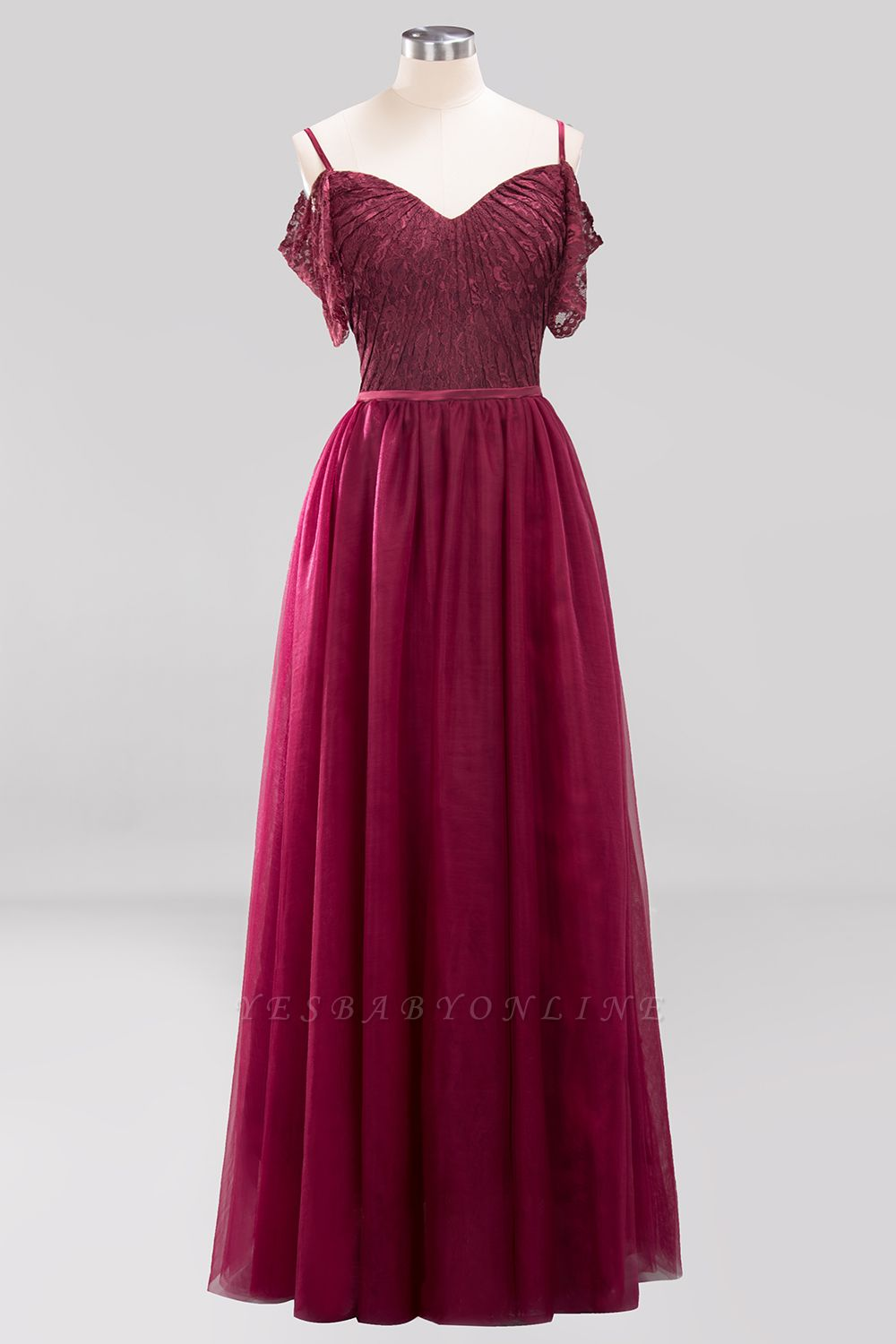 A-Line  Lace Sweetheart Spaghetti Straps Short-Sleeves Floor-Length Bridesmaid Dresses with Ruffles
