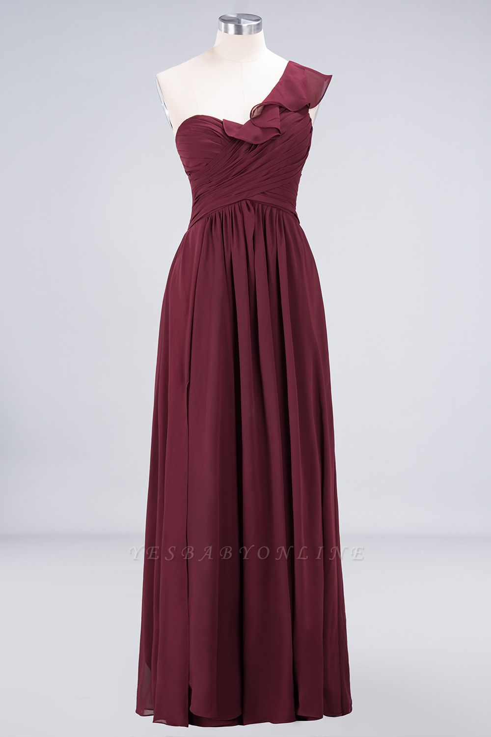 A-Line One-Shoulder Sweetheart Sleeveless Floor-Length  Bridesmaid Dress with Ruffles