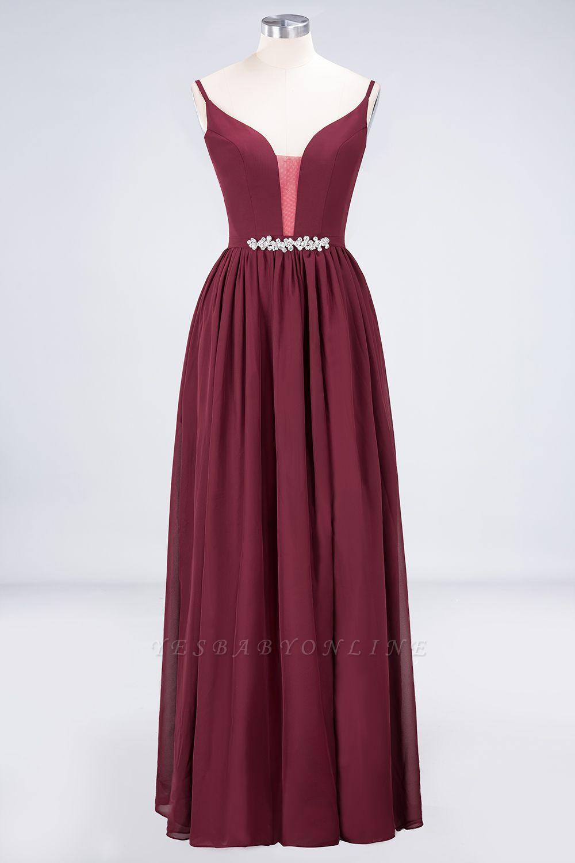 A-Line Spaghetti-Straps Deep-V-Neck Sleeveless Floor-Length  Appliques Bridesmaid Dress with Ruffles
