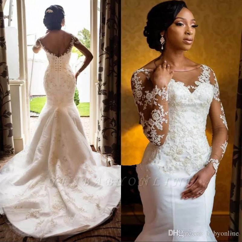 Charming Round Neck Long Sleeves Lace Appliques Sexy Mermaid Wedding Dress