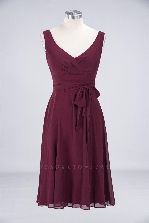 A-Line Straps V-Neck Sleeveless Ruffles Knee-Length  Bridesmaid Dress with Bow Sash