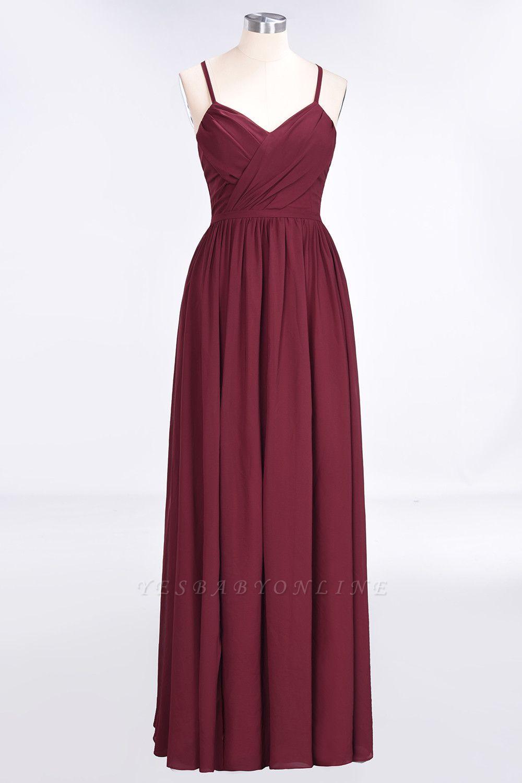 A-Line Spaghetti-Straps V-Neck Sleeveless Floor-Length  Bridesmaid Dress with Ruffles