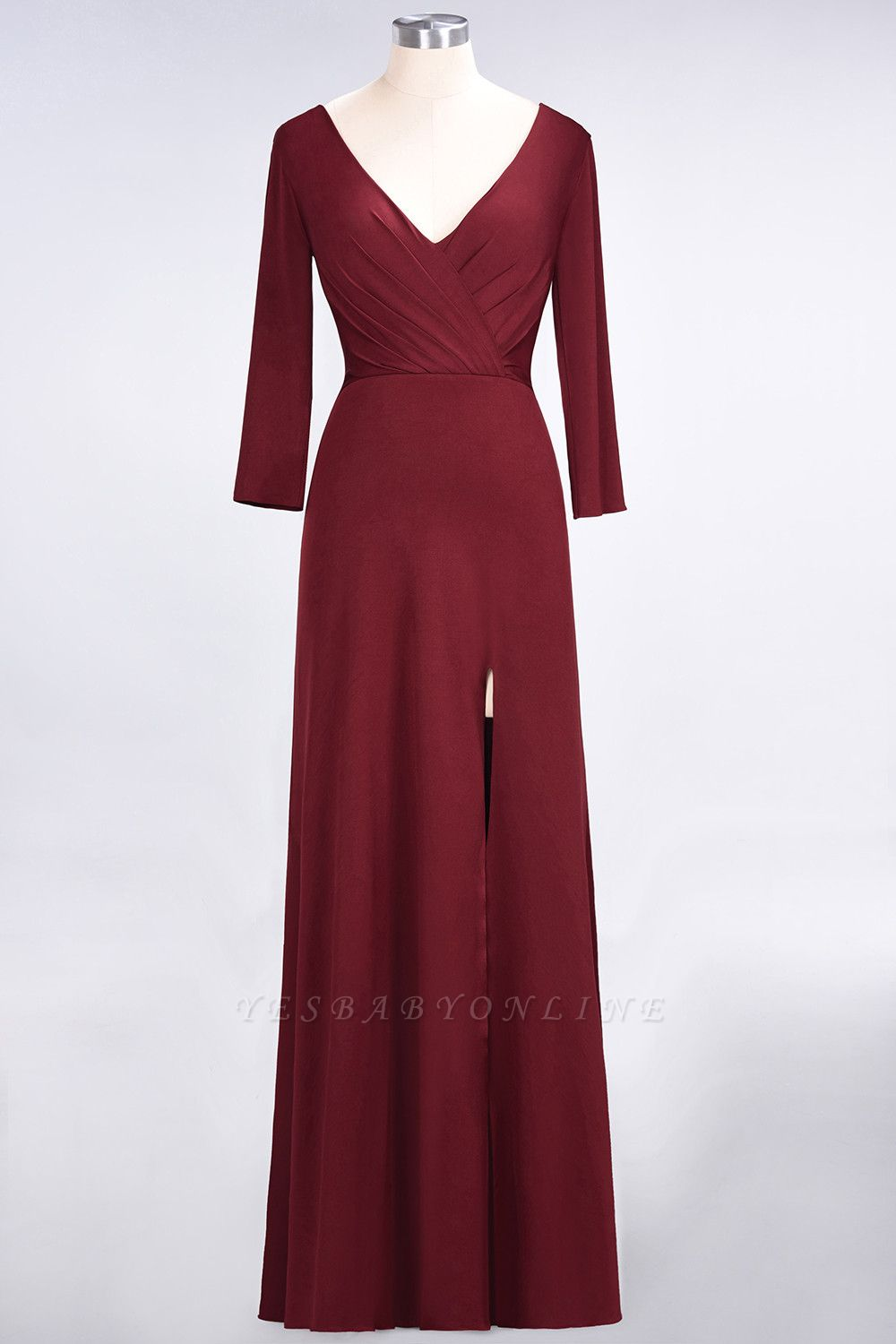 A-Line V-Neck Long-Sleeves Side-Slit Floor-Length Spandex Bridesmaid Dress with Ruffles