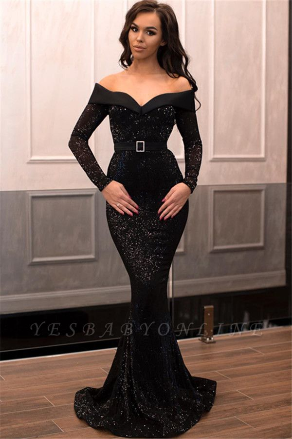 Charming Off-the-Shoulder Long Sleeves Mermaid Floor-Length Prom Dress