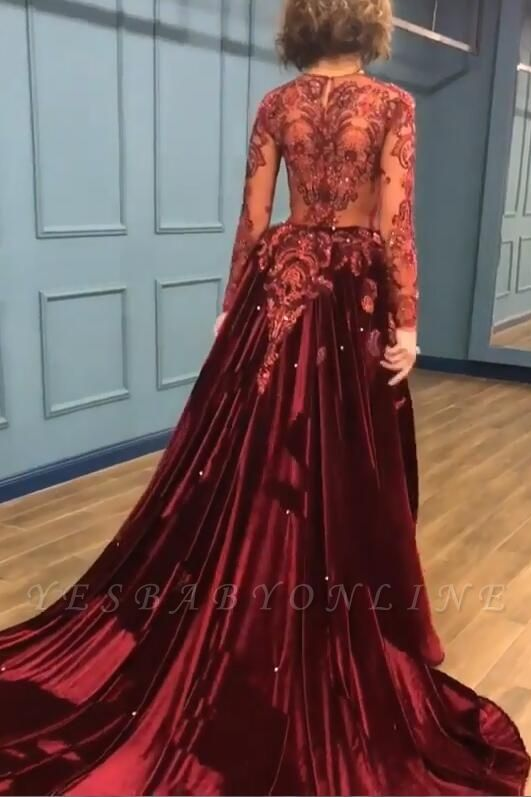 2019 Sparkle Beads Burgundy Long Sleeves Prom Dresses with Appliques BC0731
