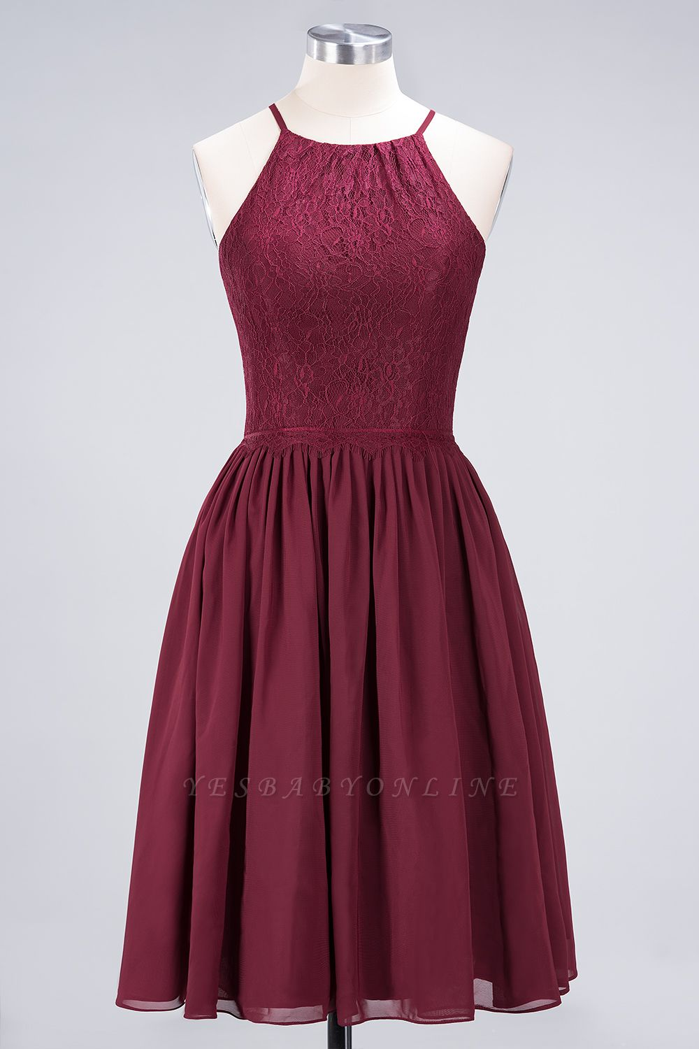 A-line  Lace Jewel Sleeveless Knee-Length Bridesmaid Dresses with Ruffles