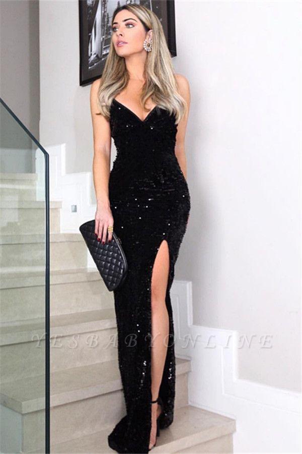 Fashion Spaghetti Straps V-Neck Sleeveless Sheath Prom Dress