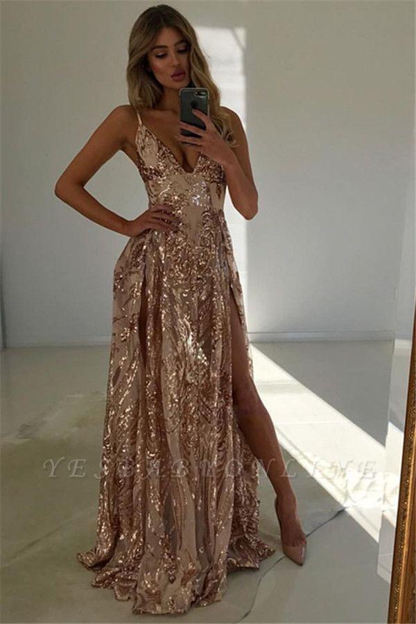 Chic A-Line V-Neck Spaghetti-Straps Front-Split Sleeveless Floor-Length Prom Dresses