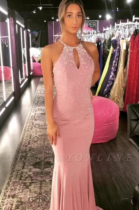 Elegant Mermaid Halter Long Prom Dresses with Crystal