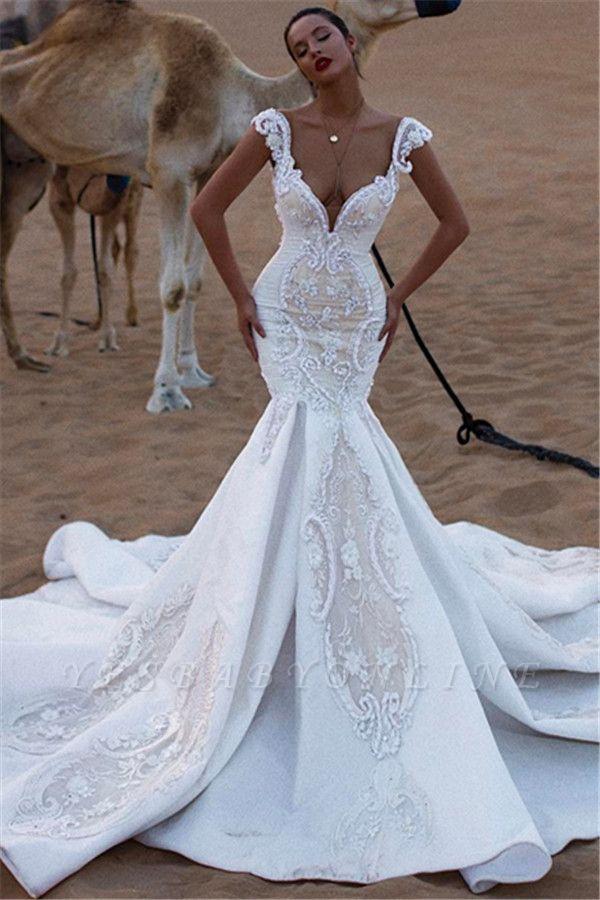 Stylish Mermaid Cap-Sleeves V-Neck Appliques Wedding Dresses