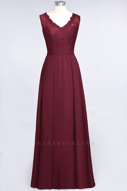 A-Line V-Neck Sleeveless Floor-Length  Lace Bridesmaid Dress