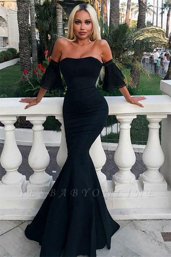 Charming Mermaid Off-the-Shoulder Short Sleeves Floor-Length Prom Dresses