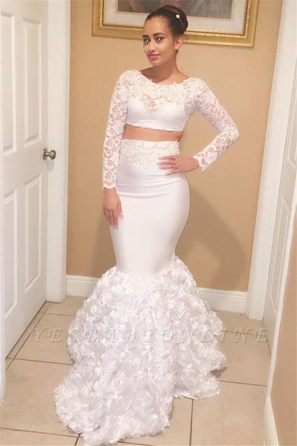 Two Pieces Mermaid Scoop Long-Sleeves Appliques Lace Prom Dresses