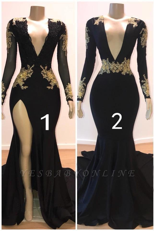 Charming Mermaid V-Neck Long-Sleeves Appliques Floor-Length Prom Dresses