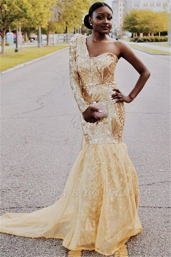 Elegant Mermaid One-Shoulder Long-Sleeves Sweep-Train Prom Dresses