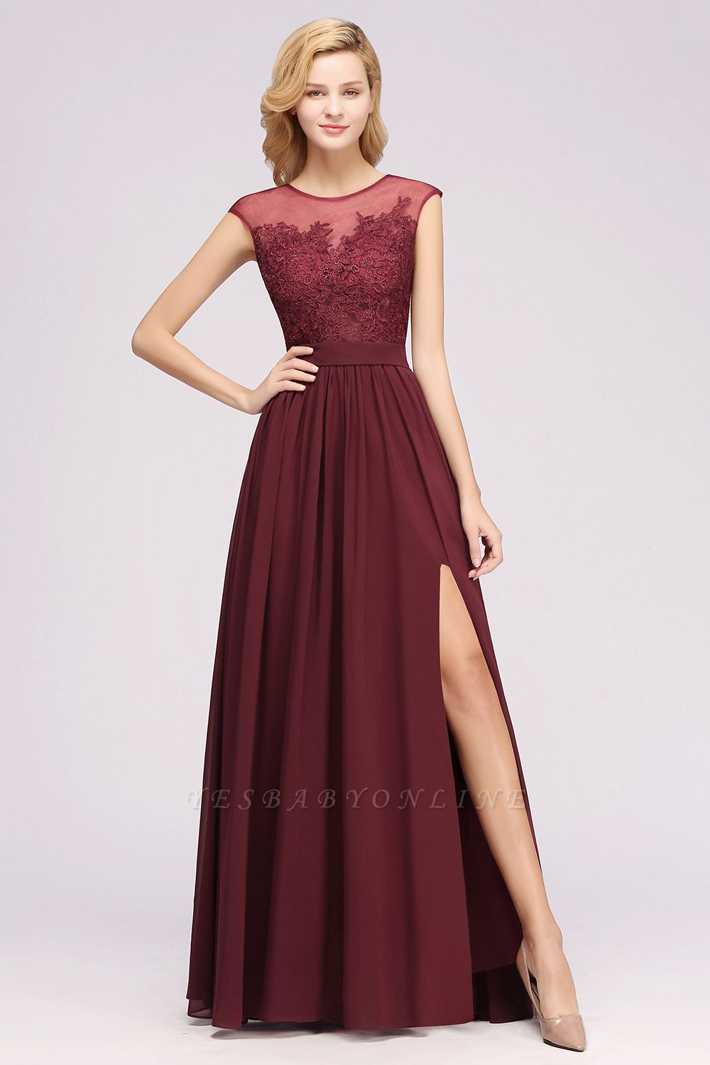 A-line  Lace Jewel Sleeveless Floor-Length Bridesmaid Dresses with Appliques