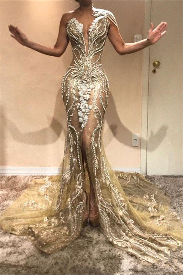 Elegant A-Line One-Shoulder Beading Appliques Front-Split Prom Dresses