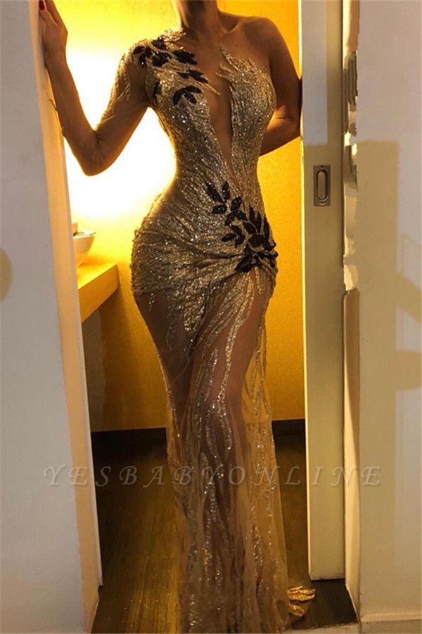 Elegant Sheath One-Shoulder V-Neck Backless Floor-Length Prom Dresses