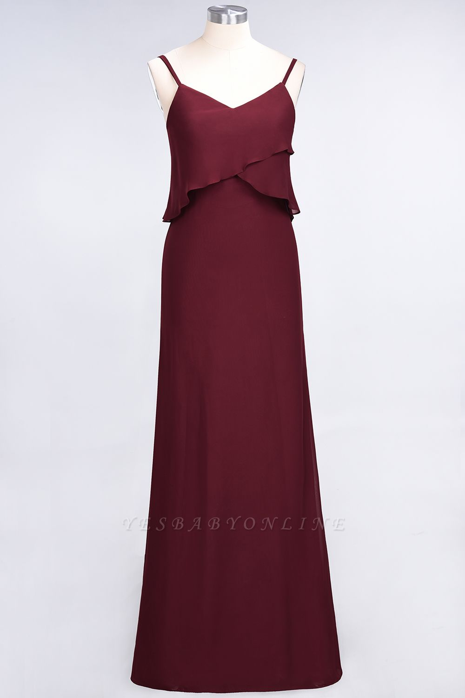 A-Line Spaghetti-Straps V-Neck Sleeveless Floor-Length  Bridesmaid Dress