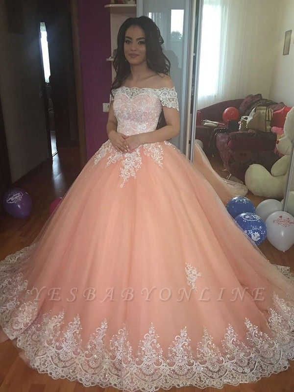 Glamorous Ball Gown  Off-the-Shoulder Appliques Sweep-Train Prom Dresses