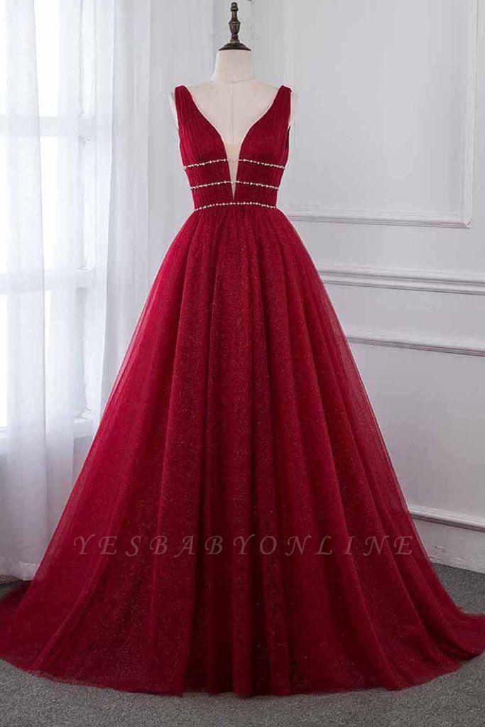 Unique A-Line Deep-V-Neck Sleeveless  Rhinestones Prom Dresses