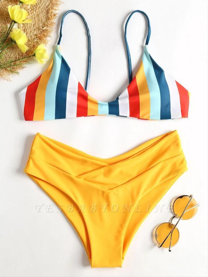 Striped High Leg Cami Sexy Bikini