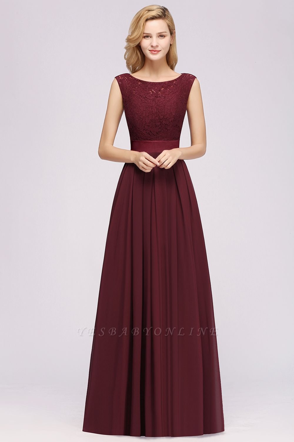 Simple A-Line Chiffon Bridesmaid Dresses | Scoop Sleeveless Lace Appliques Maid of the Honor Dresses