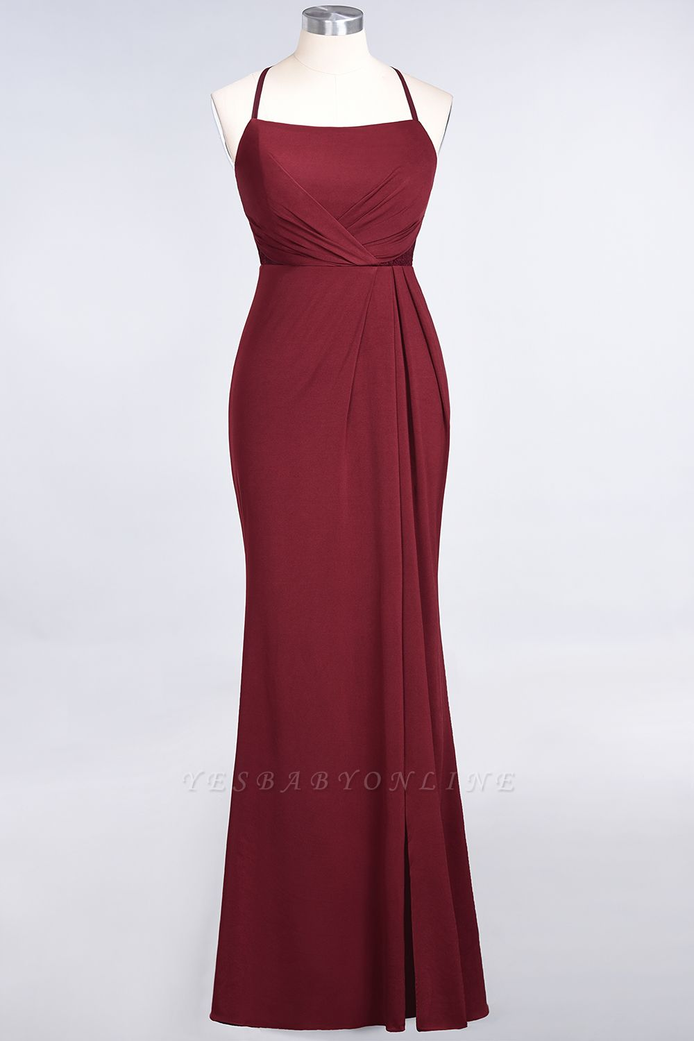 Mermaid Spaghetti-Straps Sleeveless Floor-Length spandex Lace Bridesmaid Dress with Ruffle
