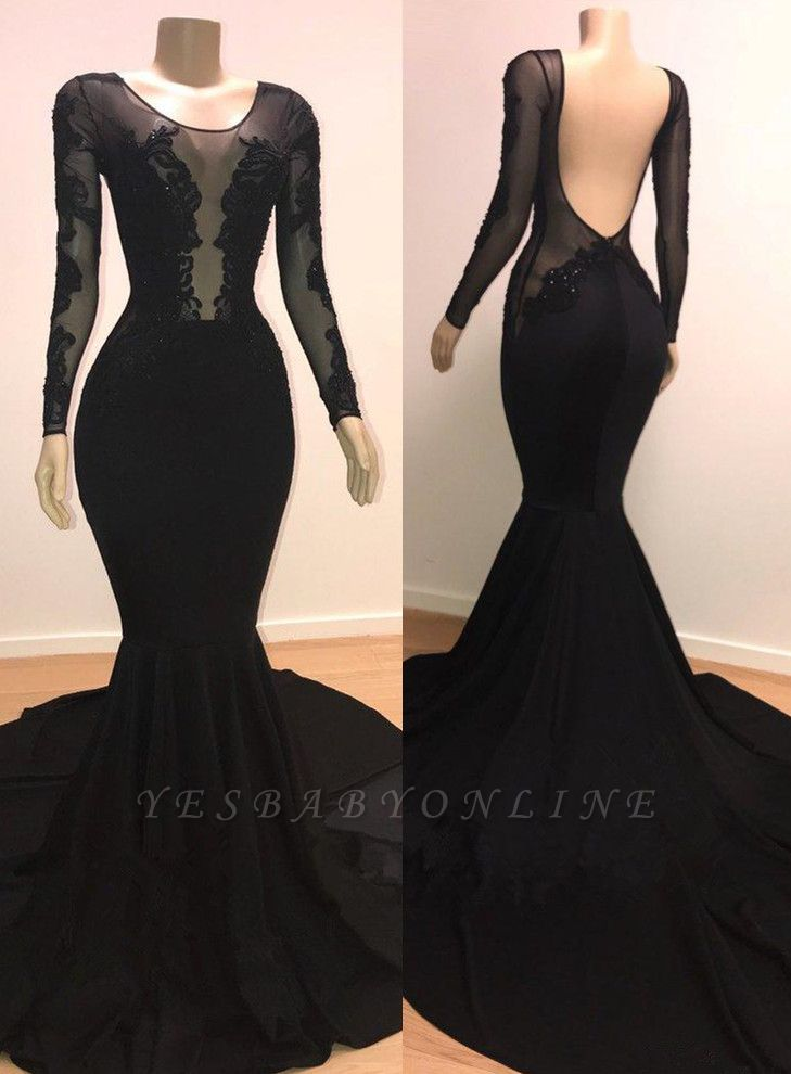 Stylish Mermaid Scoop Long-Sleeves Backless Appliques  Prom Dresses