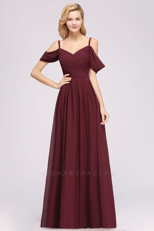 A-Line  V-Neck Spaghetti Straps Short-Sleeves Floor-Length Bridesmaid Dresses with Ruffles