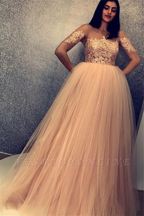 Unique A-Line Scoop Short Sleeves Appliques  Floor-Length Prom Dresses