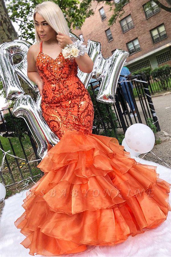 Unique Mermaid Spaghetti-Straps Sleeveless Appliques Rhinestones Prom Dresses