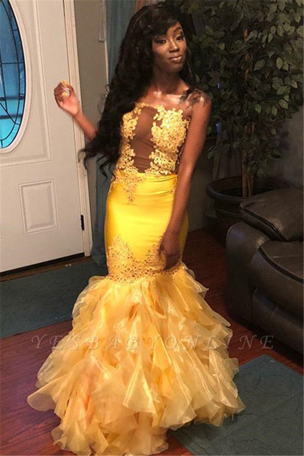 Stunning Mermaid Sleeveless Strapless Appliques  Floor-Length Prom Dresses
