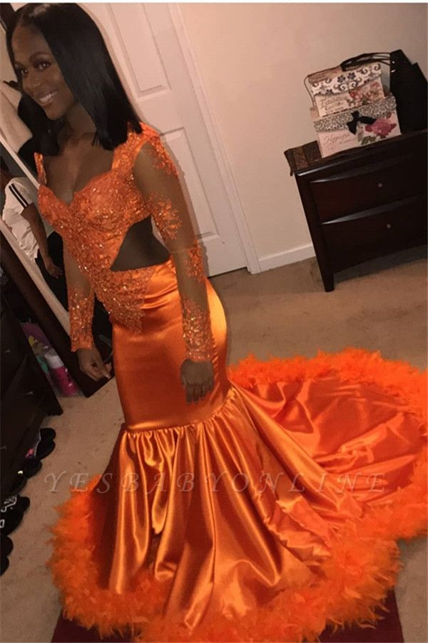 Stunning Mermaid V-Neck Long-Sleeves Appliques  Sequins Floor-Length Prom Dresses
