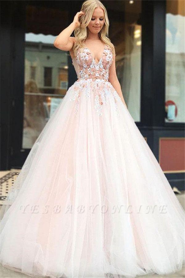Elegant A-Line Straps V-Neck Sleeveless Beading Appliques Floor-Length Prom Dresses