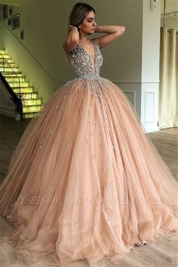 Stunning Ball Gown V-Neck Straps Sleeveless Rhinestones  Prom Dresses BC0971