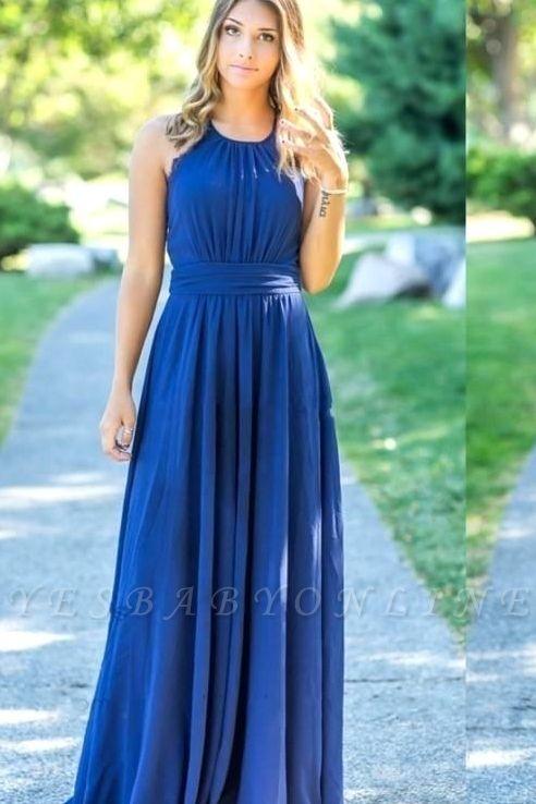 Ocean Blue Halter  Cheap Bridesmaid Dresses | A-line Open Back Floor-length Bridesmaid Dresses