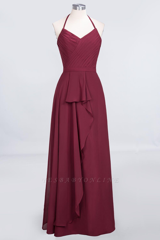 A-Line Halter V-Neck Sleeveless Floor-Length  Bridesmaid Dress with Ruffle
