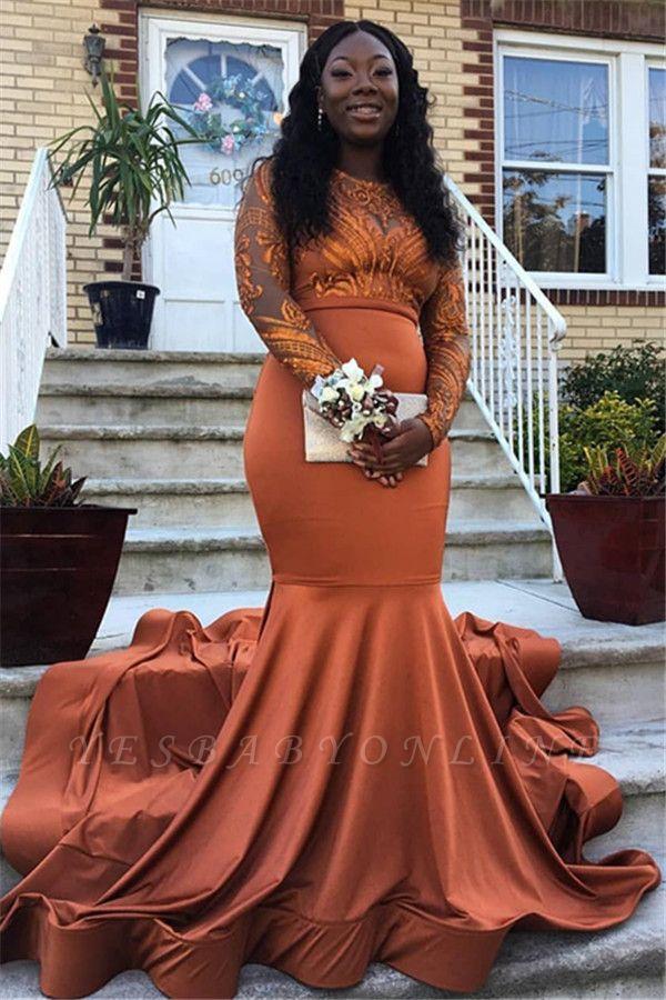Elegant Mermaid Round-Neck Appliques Long-Sleeves Floor-Length Prom Dresses