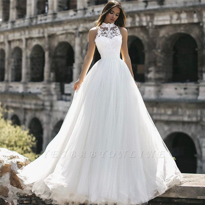 Glamorous  Floor-Length High-Neck Sleeveless Appliques  A-Line Wedding Dresses