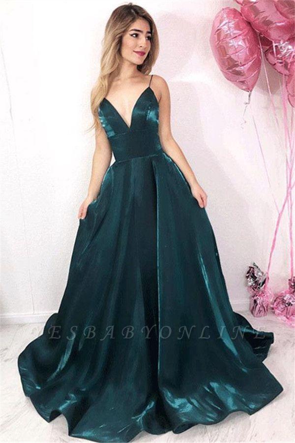 Stunning A-Line V-Neck Spaghetti-Straps Sleeveless Floor-Length Prom Dresses
