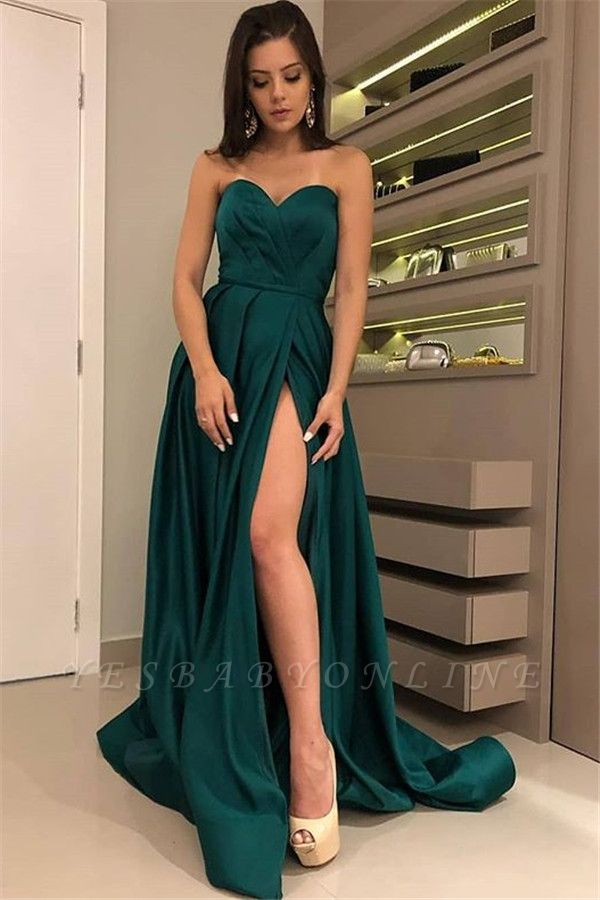 Stunning A-Line Strapless Front-Split Sleeveless Floor-Length Prom Dresses