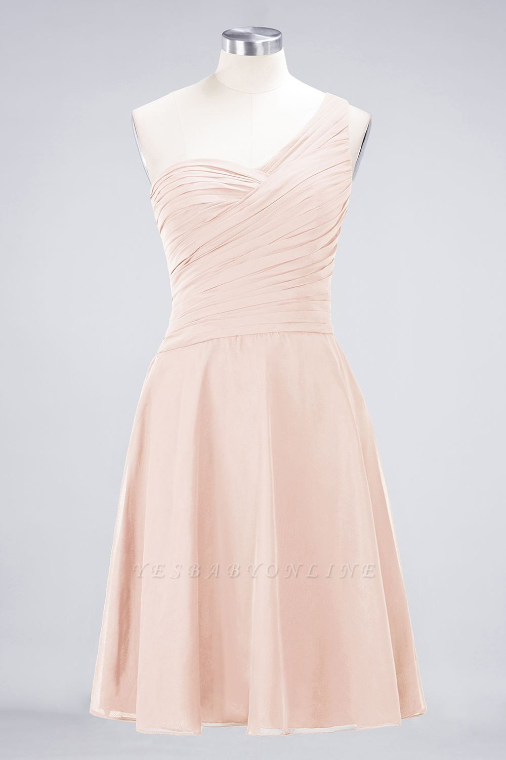 A-Line One-Shoulder Sweetheart Sleeveless Knee-Length  Bridesmaid Dress with Ruffles