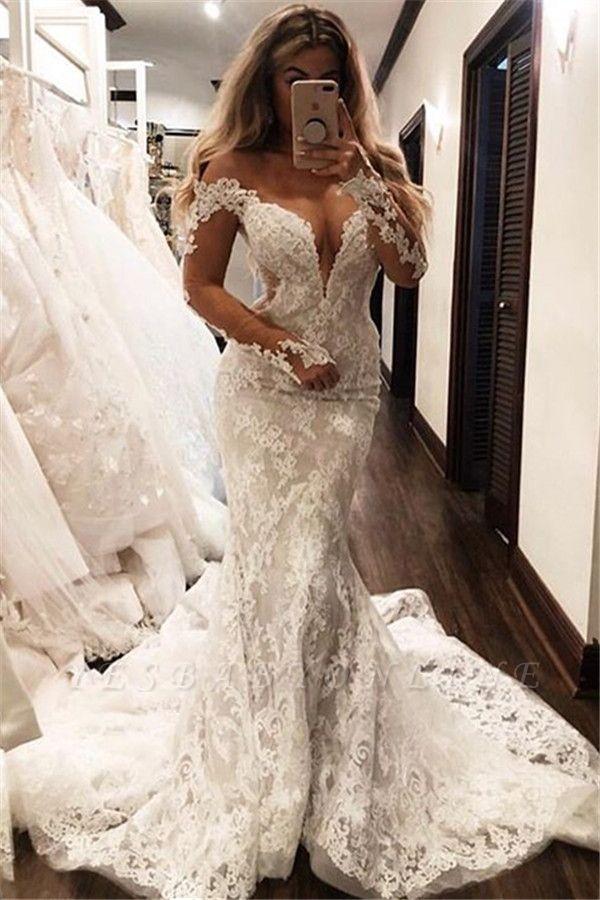Glamorous Mermaid Off-the-Shoulder Long-Sleeves V-Neck Appliques Wedding Dresses